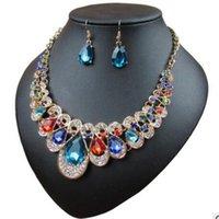 rubin halskette ohrringe großhandel-Luxus-Designer-Schmuck-Sets für Frauen Rubin setzt Halskette Ohrringe Tropfenform heiße Mode frei von shippig