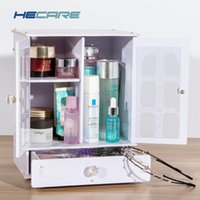 Wholesale white toy organizer resale online - 2018 New Plastic PVC Makeup Organizer Box Pink and White Eco friendly Desktop Storage Box for Cosmetic Organizer White Toy Box