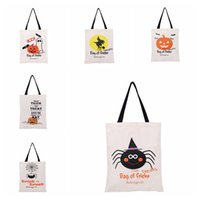 Wholesale spider backpack - 6 styles Halloween Large Canvas bags cotton Tote bag Handbag With Pumpkin, devil, spider, Hallowmas Gifts Sack Bags