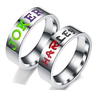 Wholesale letters wedding rings - Stainless Steel Suicide Squad Rings for Women Engraving JOKER & HARLEY Letter Commemorate Jewelry Wedding Lover Rings Wholesale 080331