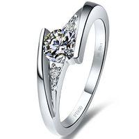 sonsuzluk elmas yüzük toptan satış-Romantik Tasarım Yıldız pırıltı 1 ct sentetik elmas yüzük gümüş 18 K beyaz altın kaplama yarı dağı yüzük ayarları infinity yüzük