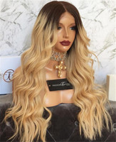 Wholesale black honey blonde ombre online - Natural Wave Glueless Ombre b Lace Front wavy Human Hair Wigs peruvian Ombre Honey blonde Full Lace Human Hair Wigs For Black Women