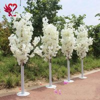 Wholesale tree purple flowers for sale - Group buy 1 M feet Height white Artificial Cherry Blossom Tree Roman Column Road Leads For Wedding Mall Opened Props