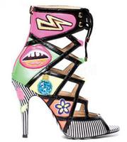sandalias lindos tacones al por mayor-Mujer Cute Multi Color Ojos Helado Imprimir Botines Peep Toe Gladiador Dot Stripe Tacones altos Sandalias Mujer Zapatos con cordones