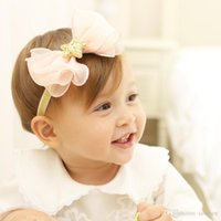 Wholesale flower heads for hair bows - Baby Headbands Chiffon Flower Bows Kids Elastic Cute Hairbands brithday hat star Head Bands for Girls Children Hair Accessories KHA651