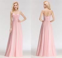 rosa chiffon drapiert großhandel-Süßigkeits-Rosa-Sommer-Strand-reizvolle Spaghetti-Bügel-Brautjunfer-Kleider Eine Linie Chiffon- drapierte Falten-Boden-Längen-Trauzeugin-Kleider BM0046