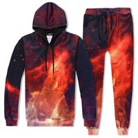 Wholesale star galaxy s - New Fashion Men Women Hooded Hoodies Galaxy Hoody Sets Red Fire Star Print 3d Sweatshirts And Long Pant Sets