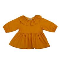 mädchen rüsche lange ärmel bluse großhandel-Infant Baby Mädchen Baumwolle Langarm Bluse Shirts Tops Kurze Mini Sommerkleid Rüschen Taste Outfit Kleidung Kinder Kleidung 0-2Y