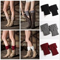 Wholesale winter boot covers resale online - Women Winter Leg Warmers Crochet Boot Socks Toppers Cuffs Warm Chirstmas Foot Cover Socks pair Colors pairs OOA3863