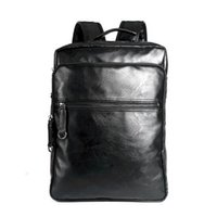 mochilas escolares gratuitas al por mayor-Mochila de cuero de los hombres de alta calidad de la mochila de viaje de la juventud libro de la escuela del bolso del ordenador portátil masculino mochila de negocios envío gratis