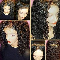 Wholesale ponytail human hair lace wig resale online - Ponytail Lace Frontal Density Brazilian Virgin Water Wave Human Hair Wigs For Black Women With Baby Hair inch Natural Color