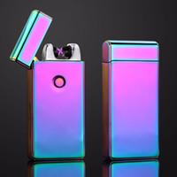 cigarrillos electronicos recargables colores al por mayor-Doble Arco Pulso Encendedor de cigarrillos Eléctrico Encendedor USB Sin Llama recargable para Hombres Encendedores Electrónicos A Prueba de Viento Plasma 10 colores