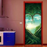 paredes de diseño de la vid al por mayor-77x200cm diseño creativo vides 3D Tree Twigs corazón de vinilo calcomanías etiqueta de la puerta en forma moderna Wall Mural dormitorio Home Decor Poster