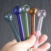 Wholesale 3mm Tube - Colorful Smoking Pipes Glass Oil Burner Tube Oil Pipe about 3mm thickness for smoking fast shippinng