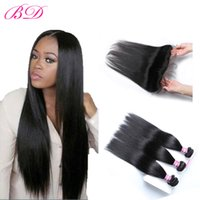 Wholesale good straight hair weave online - BD Brazilian Remy Straight Hair Weaves Malaysian Indian Peruvian Human Hair Wefts Bundles With Top Lace Frontal Closure Good Luster