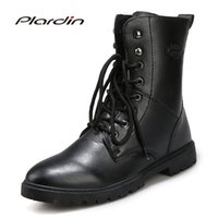 Wholesale cross stitch cotton fabric - Plardin 2017 Fashion Winter motorcycle boots Comfortable Man Cross-tied Mid-calf Stitching Antiskid Shoes for men Knight boots