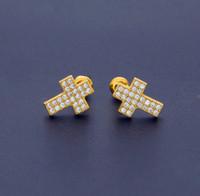 Wholesale Dangle Diamond Cross Earrings - Luxury Zircon Earrings Gold For Men Brand Hiphop Jewelry Fashion Cross Pierced Ear Stud Full Diamond Hip Hop Accessories
