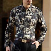 velvet birds 2018 - Men Velvet Shirt Party Shirts For Men Planting Bird Gold See Through Shirt Long Sleeve Camisa Social Masculina Camisa Hombre