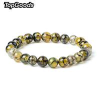 sarı agate jewelry toptan satış-Yeni Doğal Ejderha Terazi Bilezik Sarı Akik Taş Bilezik 8mm Gevşek Taş Elastik Bilezikler Moda Takı Kadınlar için