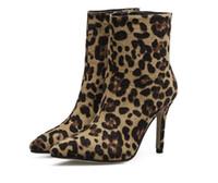 botas calcanhar carretel venda por atacado-Sexy Leopardo Occidente Tornozelo Mulheres Botas Dedo Apontado Calçado Rebanho Booties Novo Spool Salto Alto Sapatas Das Senhoras