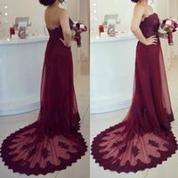 Wholesale Lace Wedding Dresses Open Back Strapless - Country Burgundy Bridesmaid Dresses Long Formal Strapless Open Back Lace Appliques Tulle Formal Dress Maid of Honor Gowns for Wedding Party