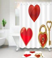 tapete do banheiro do coração venda por atacado-Amor vermelho Teste Padrão Do Coração 3D Impressão Personalizado À Prova D 'Água Do Banheiro Moderno Cortina de Chuveiro Tecido de Poliéster Cortina Do Banheiro Porta tapete conjuntos