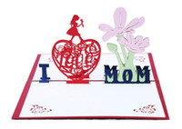 Wholesale handmade cards toys resale online - Happy Mother s Day D Popup Postcards Creative MOM Greeting Cards with Envelope Festival Flowers Laser Cut Hollow Handmade Cards