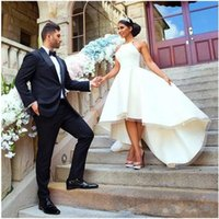 Wholesale empire neck elastic wedding dresses online - 2019 White Arabic High Low Wedding Dresses Sleeveless Tiered Ruffle Bridal Gowns Back Zipper Spaghetti Custom Made Simple Wedding Gowns