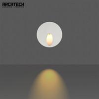 ingrosso calcestruzzo rotondo-Lampade da incasso a LED da incasso a 3W Lampade ad angolo a parete con percorso rotondo Lampade da corridoio a LED Lampade da soffitto Embedded Lampada da parete in calcestruzzo AT-8R