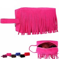 tassels bolsa de tecido venda por atacado-Moda Tecido de Lã Borla Bolsa Saco de Cosmética Bolsa Mulher Organizador Multi Funcional Saco Neceser Maquillaje 20x10x12 cm