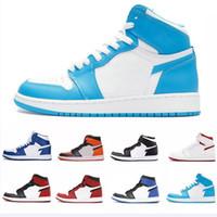ingrosso polo rosso bianco blu-1S Chicago rosso con scatola bianca superiore Qualità Nuovo 1 Chicago rosso Uomo Scarpe da basket Blu polvere UNC Athletic Sport Sneakers