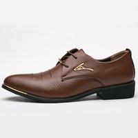 toe grande mens sapatos casuais venda por atacado-Mens Sapatos de Moda Apontou Toe Rendas Até Sapatos Casuais dos homens de Negócios de Couro Preto Marrom Oxfords Tamanho Grande 38-48