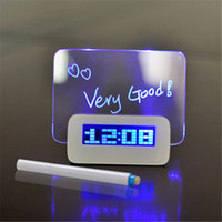 Wholesale fluorescent clock - Blue Green LED Fluorescent Digital Alarm Clock with Message Board USB 4 Port Hub For Free Shipping