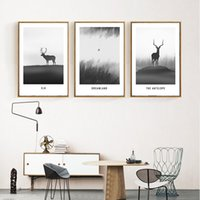Wholesale deer painting black white for sale - Group buy Nordic Style Modern Black And White Deer Poster Elk Wall Art Canvas Painting Decorative Pictures Home Decor Unframed