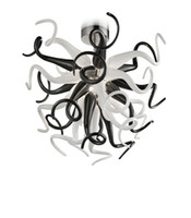 luces de araña de techo de cristal negro al por mayor-Araña de cristal de arte moderno Lámpara de techo Luces colgantes Cristal blanco y negro Loft Lámparas colgantes 85V-265V Led accesorio de iluminación