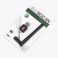 antenas de lan sem fio venda por atacado-Mini 150 Mbps USB Adaptadores Adaptadores de LAN Sem Fio Wi-fi Adaptador de Rede de Rede Com 2dbi Antena Para Acessórios de Computador 100 pçs / lote Livre DHL
