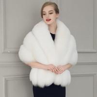 poncho de pele branca venda por atacado-New Black White Fur Noiva Xale Cape Coat Mulheres Casaco Faux Fur Grande Poncho Casacos Femininos