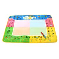 Wholesale education toys online - Early Education And Wisdom Russian Children Canvas Colour Graffiti Mats Painting Of Clean Water Intelligence Toys Writing Blanket mr W
