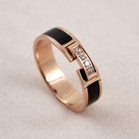 Wholesale gold finger bands girls for sale - Group buy Women s Diamond Ring Black Four Diamond Index Finger Ring Fashion Tide Girls Wild Titanium Steel Rose Gold Ring Women s Band Rings