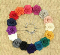 Wholesale flower boutonnieres resale online - Hot Lapel Flower Man Woman Camellia Handmade Boutonniere Stick Brooch Pin Men s Accessories in Colors