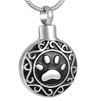urna de cremación de plata al por mayor-Celtic Designs Urn Necklace for Ashes Cremation Keepsake Silver Paw Dog Cat Flower Colgantes para Mujeres Hombres