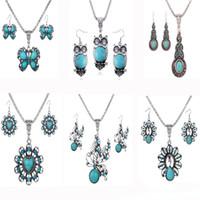 этническая бирюза оптовых-6 конструкций смешать старинные серебряные ожерелья наборы для женщин бирюзовый животных ожерелье кулон серьги этнические ювелирные изделия набор