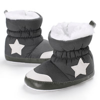 Wholesale fur boots newborn - Soft bottom Newborn baby boot winter keep warm shoes with thick fur infant girls boys first walker white star baby moccasins