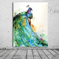 cuadros de pavo real enmarcado al por mayor-ZYXIAO Posters and Prints animal peacock lindo moderno pintura al óleo lienzo No Frame Wall Pictures for Living Room decoración del hogar ys0096