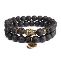 ingrosso disegno dei nuovi uomini dei monili-Natural 8mm Lava Stone borda il braccialetto Onyx nero Tibetan Buddha Strand Braccialetti per gli uomini Nuovi monili di yoga di disegno 2pcs / lot