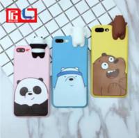 casos de urso 3d venda por atacado-Novidade 3d panda polar bear brown ursos silicone phone case à prova de choque protetora celular casos para iphone 6 6 s 6 plus 6 splus 7 7 plus