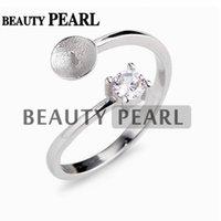 Authentique Argent Sterling 925 élégant beauté PERLE BLANCHE /& Clair Zircone Cubique Bague