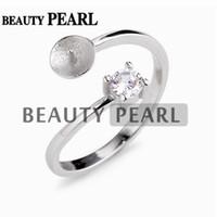 perlenringe zinken großhandel-5 Stück Eleganter klassischer Stil Perle Ringmontage 925er Sterlingsilber Set Zinken Rundschnitt klarer weißer Zirkon