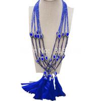 ожерелья высокого класса кристалла оптовых-Высокого класса Кружевной Кристалл свитер цепи женщины простой длинное ожерелье одежда аксессуары модные аксессуары