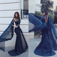 Wholesale Column Open Back - New Fashion Navy Blue Evening Dresses Sexy Open Back 2018 Arabic Sheath Hollow Neck Beaded Sleeveless Long Red Carpet Celebrity Gowns Prom